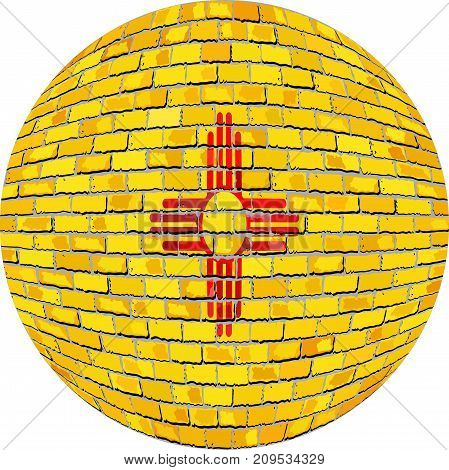 Ball with New Mexico flag in brick style - Illustration