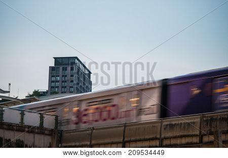 Ekkamai bts sky train station,Bangkok,Thailand 12 Oct 2017:The sky train arriving Ekkamai bts station.