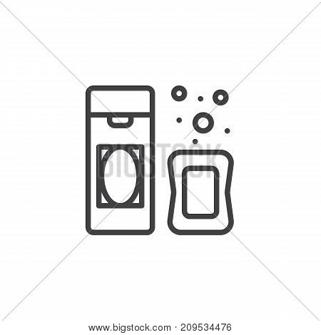 Shampoo and soap line icon, outline vector sign, linear style pictogram isolated on white. Symbol, logo illustration. Editable stroke