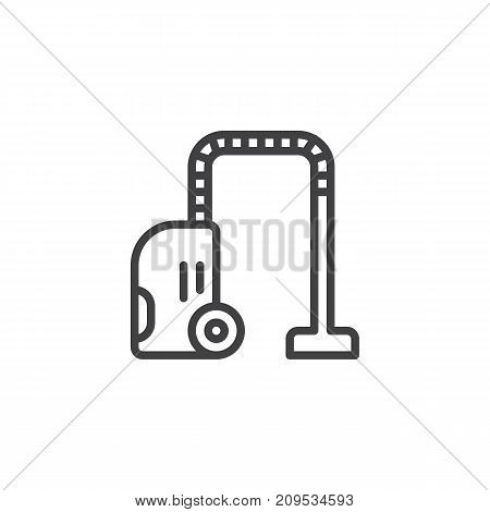Vacuum leaner line icon, outline vector sign, linear style pictogram isolated on white. Room cleaning service symbol, logo illustration. Editable stroke