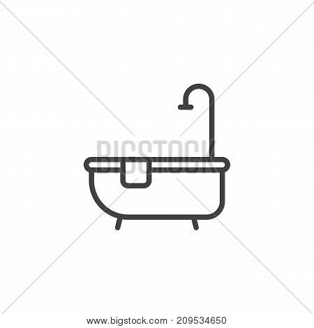Hotel bathtub with shower line icon, outline vector sign, linear style pictogram isolated on white. Symbol, logo illustration. Editable stroke