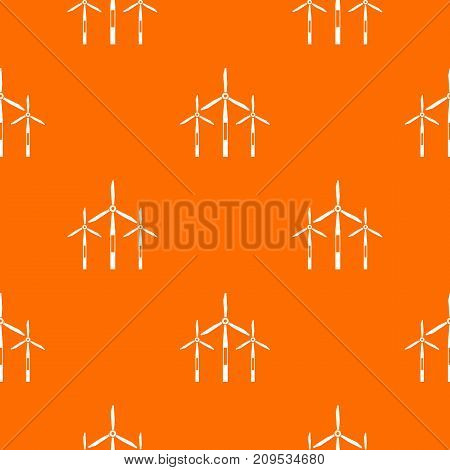 Wind generator turbines pattern repeat seamless in orange color for any design. Vector geometric illustration