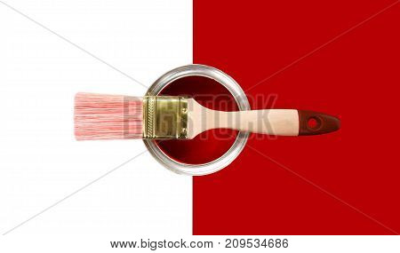 Paint brush can measuring tape wooden background color colors