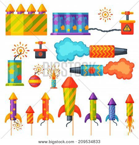 Fireworks pyrotechnics rocket and flapper birthday party gift celebrate vector illustration festival tools. Anniversary bright carnival celebrate fly-swatter flapper.