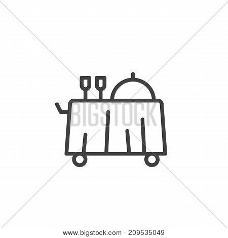 Breakfast room service line icon, outline vector sign, linear style pictogram isolated on white. Symbol, logo illustration. Editable stroke