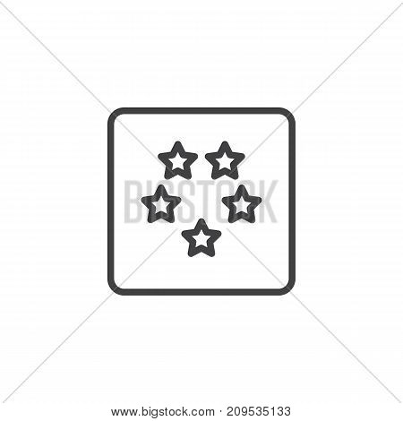 Five stars hotel rating line icon, outline vector sign, linear style pictogram isolated on white. Symbol, logo illustration. Editable stroke