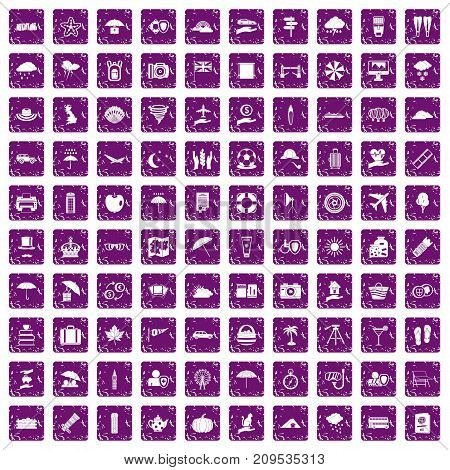 100 umbrella icons set in grunge style purple color isolated on white background vector illustration