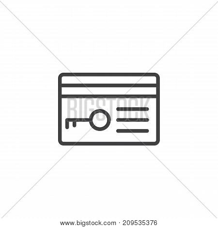 Key card line icon, outline vector sign, linear style pictogram isolated on white. Symbol, logo illustration. Editable stroke