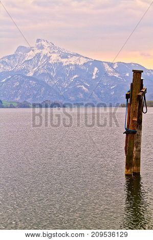 View of Mondsee Lake in Austria in late winter.