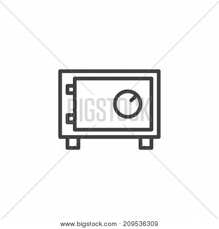 Safebox line icon, outline vector sign, linear style pictogram isolated on white. Room safe symbol, logo illustration. Editable stroke