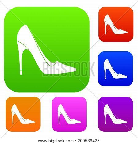 High heel shoe set icon color in flat style isolated on white. Collection sings vector illustration