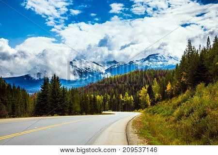 The grandiose nature of the Rockies of Canada. The Highway 93