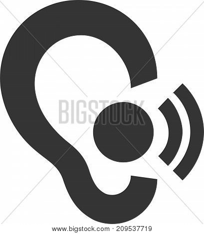 In Ear Headset - Wireless Call - Hearing Aid. Symbol or Icon for Blue Tooth Headphone Earpiece, Audio Receiver, Sound Amplifier and Hands Free Calling Device. Sign Element for Attention to Listen and Hear. Flat Isolated Earphone Illustration.
