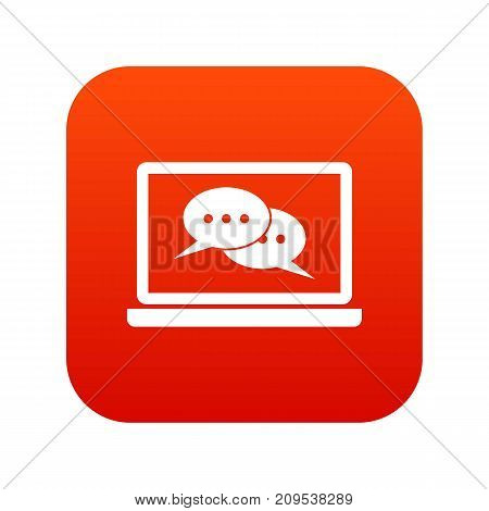 Speech bubbles on laptop screen icon digital red for any design isolated on white vector illustration