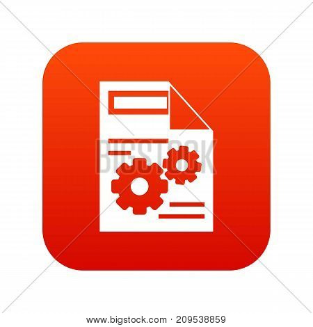 Web setting icon digital red for any design isolated on white vector illustration