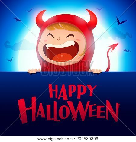 Happy Halloween. Red devil demon with big signboard in the moonlight.