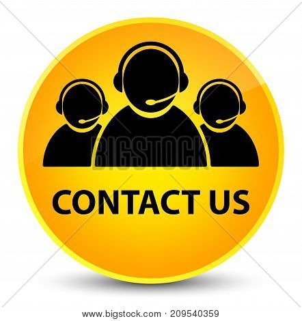 Contact Us (customer Care Team Icon) Elegant Yellow Round Button