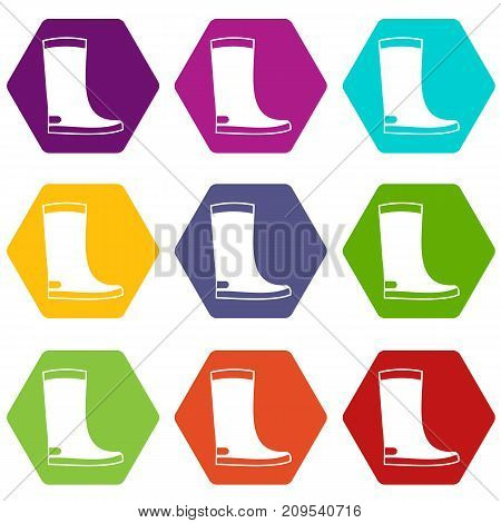 Rubber boots icon set many color hexahedron isolated on white vector illustration