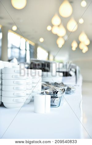 Catering Plates And Dishes Before Event