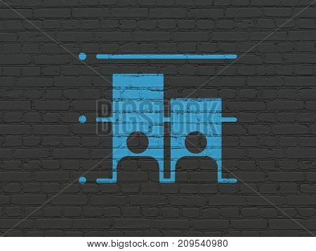 Political concept: Painted blue Election icon on Black Brick wall background