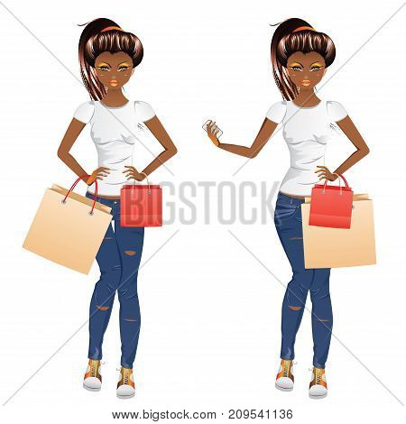 Afro American Shopping Girl