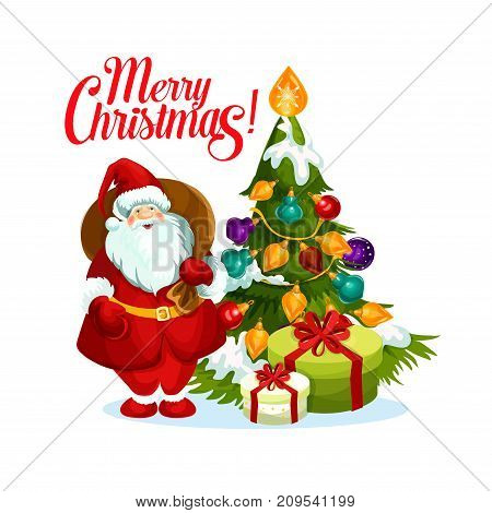 Merry Christmas greeting of Santa with gift bag and Christmas tree with ball and star decoration lights garland. Vector isolated icon for New Year winter holiday seasonal wish card design template