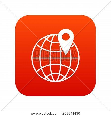 Globe with pin icon digital red for any design isolated on white vector illustration
