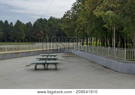 A table tennis set made from concrete material in Popular  North park,  Vrabnitsa district, Sofia, Bulgaria