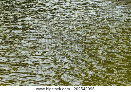 Interesting natural background of water with reflection at lake in Popular north park, Vrabnitsa district, Sofia, Bulgaria