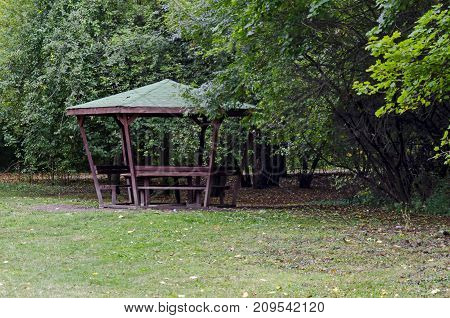 Sunlit  deciduous forest, shelter and glade in Popular  North park,  Vrabnitsa district, Sofia, Bulgaria