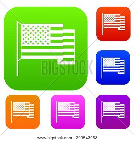 American flag set icon color in flat style isolated on white. Collection sings vector illustration