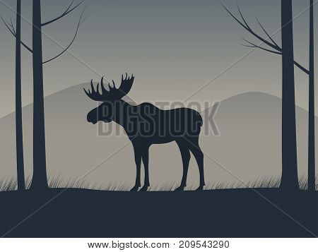 Vector illustration of an elk silhouette standing in a forest. Moose stands among the trees side view, profile.
