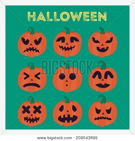 Set pumpkins for Halloween with different faces