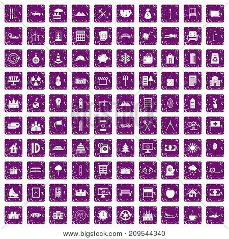 100 villa icons set in grunge style purple color isolated on white background vector illustration