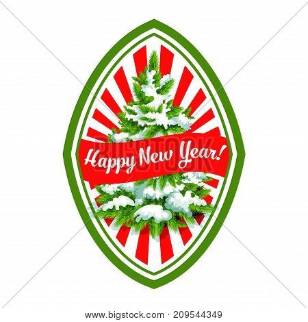Happy New Year greeting card design template of Christmas tree and ribbon decoration. Vector isolated icon of snow on fir or pine tree for Xmas winter holiday party or seasonal wish