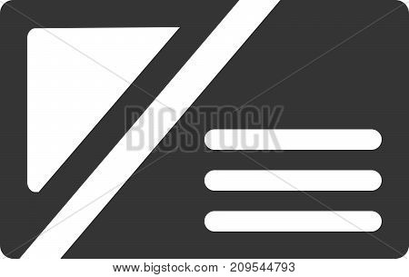 Business Card - Contact Information Icon. ID or Identification Symbol with Personal Info Lines and Round Corners. Cut, Sharp, Edgy Style. Sign or Logo Design Element for Web, Network / Networking, Printing, Professional Companies. Isolated Illustration.