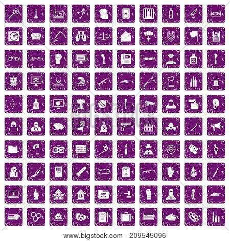 100 violation icons set in grunge style purple color isolated on white background vector illustration