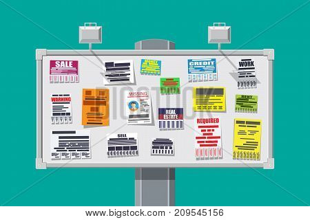 Various tear off papers ad on bulletin board. Advertisement and announcement, sell, rent, missing human, credit, work, money. Vector illustration in flat style