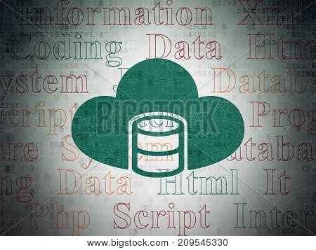 Programming concept: Painted green Database With Cloud icon on Digital Data Paper background with  Tag Cloud