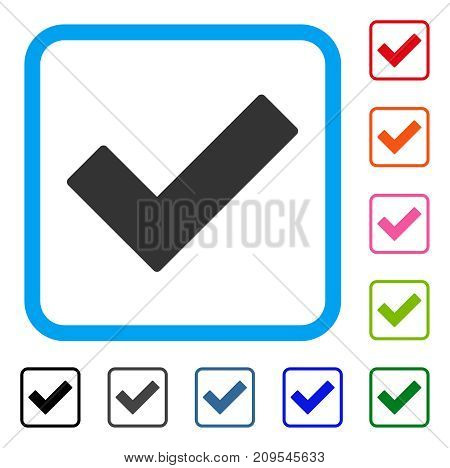 Check Tick icon. Flat gray pictogram symbol in a light blue rounded rectangle. Black, gray, green, blue, red, orange color versions of Check Tick vector. Designed for web and software user interface.