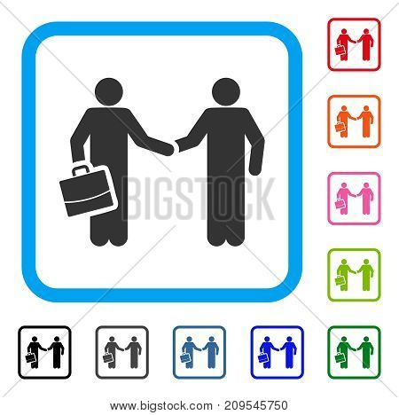 Contract Handshake Meeting icon. Flat grey pictogram symbol inside a light blue rounded square. Black, gray, green, blue, red, orange color additional versions of Contract Handshake Meeting vector.