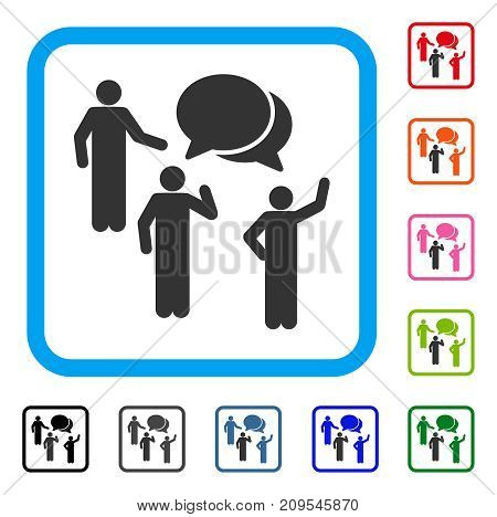 Forum icon. Flat grey pictogram symbol in a light blue rounded rectangular frame. Black, gray, green, blue, red, orange color additional versions of Forum vector.