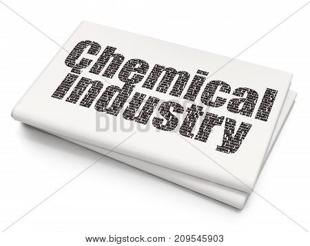 Manufacuring concept: Pixelated black text Chemical Industry on Blank Newspaper background, 3D rendering