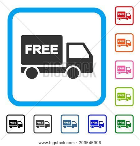 Free Delivery Car icon. Flat gray iconic symbol in a light blue rounded rectangular frame. Black, gray, green, blue, red, orange color additional versions of Free Delivery Car vector.