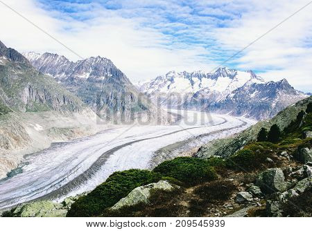 Aletsch glacier ice landscape in alps of Switzerland, Europe.