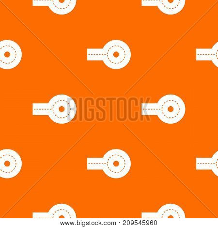 Circular impasse pattern repeat seamless in orange color for any design. Vector geometric illustration