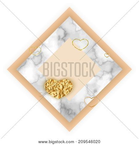Marble minimalistic background , wedding invitation or valentines day card in trendy minimal geometric style, stone, granite, gold yellow texture, vector fashion wallpaper, poster, cover