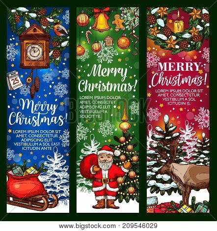 Merry Christmas greeting banner template. Santa Claus with gift in sleigh, Xmas tree with ball and lights, Christmas wreath with bell, star, snowflake and cookie, candle, candy and calendar sketches