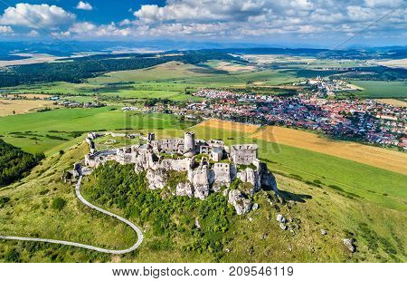 Aerial view of Spissky hrad or Spis Castle, a UNESCO World Heritage Site in Slovakia