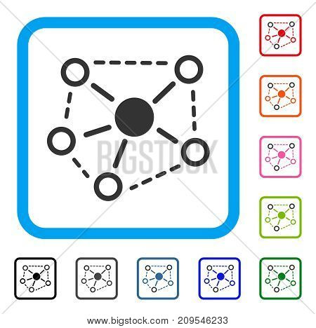 Molecule Links icon. Flat grey iconic symbol in a light blue rounded square. Black, gray, green, blue, red, orange color additional versions of Molecule Links vector.